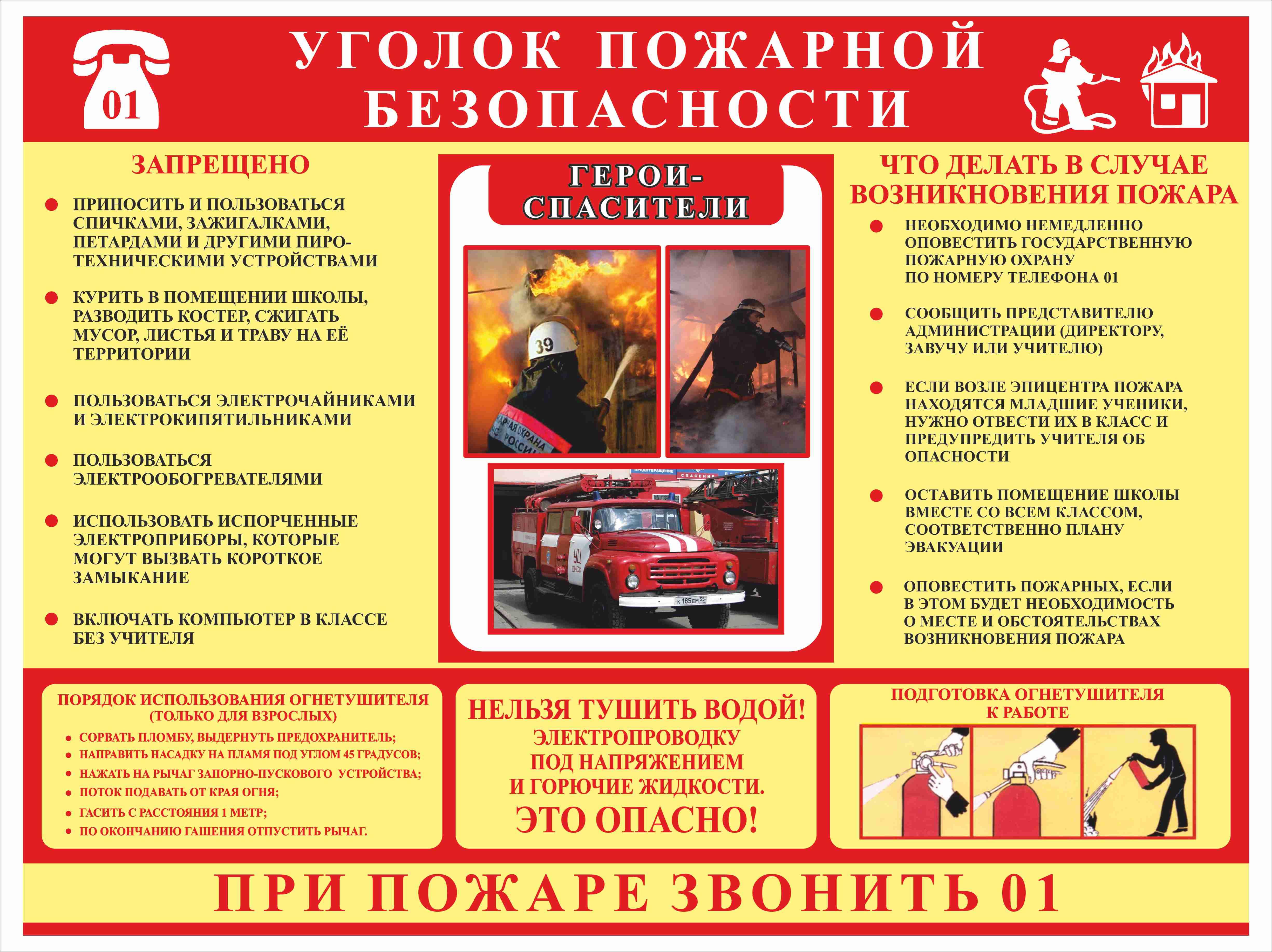 Уголок по пожарной безопасности в школе своими руками фото